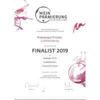 Urkunde Goldmedaille bgld. Landesprämierung 2019 Zweigelt Classic 2018