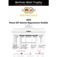 Goldmedaille Ilnobile Negroamaro 2016 Berliner Wein Trophy 2017
