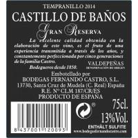 Rueckenetikett Castillo de Baños Gran Reserva 2014