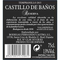 Rueckenetikett Castillo de Baños Reserva 2015