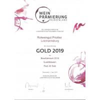 Urkunde Blaufränkisch Ried Alt Satz 2018 Gold Bgld. Landesprämierung 2018
