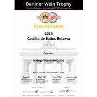 Urkunde Castillo Baños Reserva 2015 Goldmedaille BWT 2019