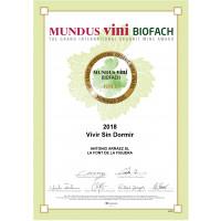 Urkunde Goldmedaille Mundus Vini 2020 Vivir sin Dormir 2018