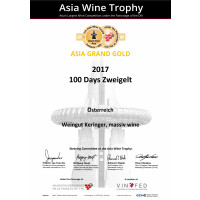 Urkunde Grand Gold Asia Wine Trophy 2019 100 day´s Zweigelt 2017