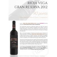 Urkunde Rioja Vega Gran Reserva 2012 90 Punkte IWSC Juli 2019