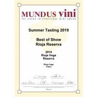 Urkunde RV Reserva 2014 Goldmedaille Mundus Vini Best of Show 2019