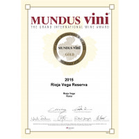 Urkunde RV Reserva 2015 Goldmedaille Mundus Vini 2020